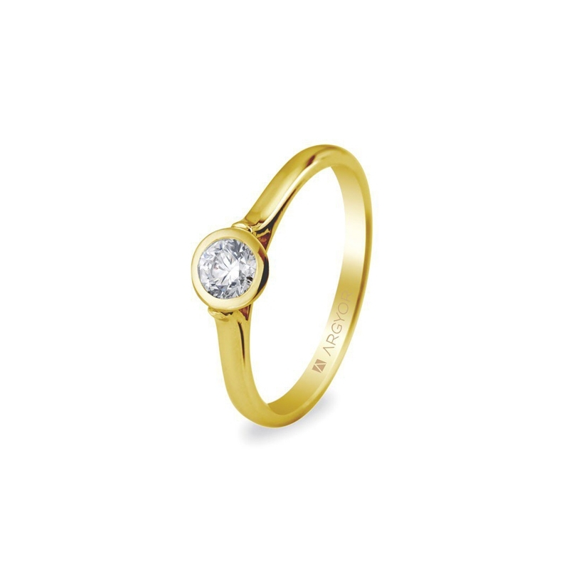 Solitario de oro amarillo con chatón de brillante, de 0,30 ct., de Argyor Compromiso.