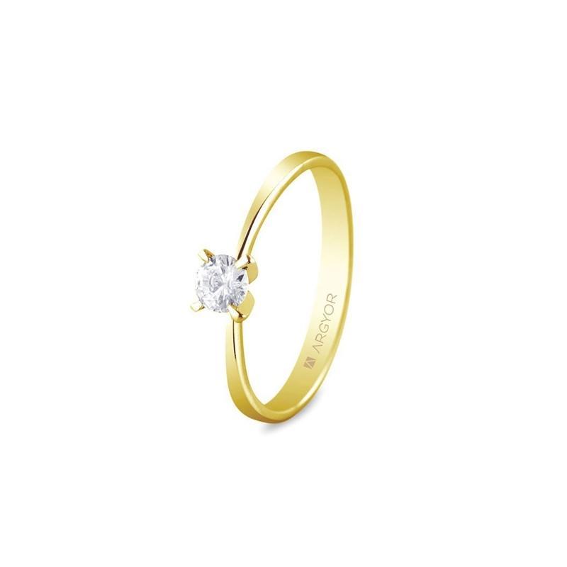 Solitario de oro amarillo diamante de 0.25 ct. en 4 garras, de Argyor Compromiso.