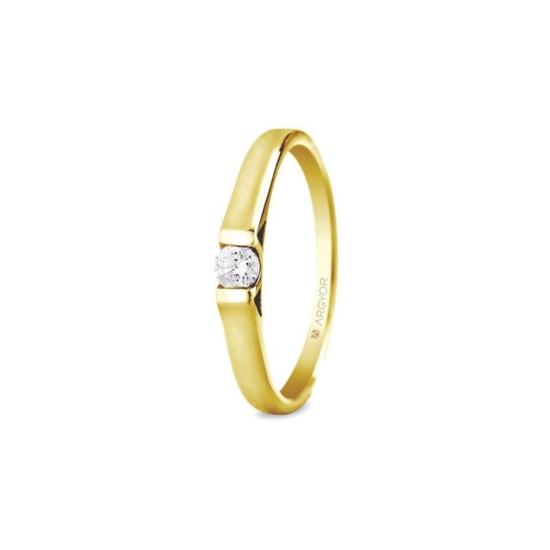 Solitario de oro amarillo con diamante de 0,10 ct. montado al aire, de Argyor Compromiso.