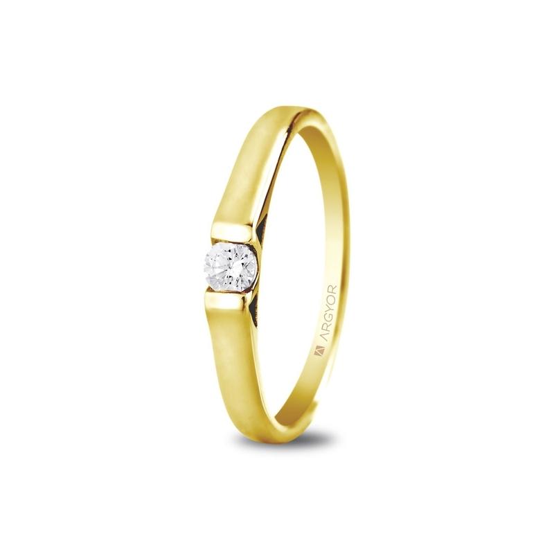 Solitario de oro amarillo de diseño minimalista, con circonita, de Argyor Compromiso.