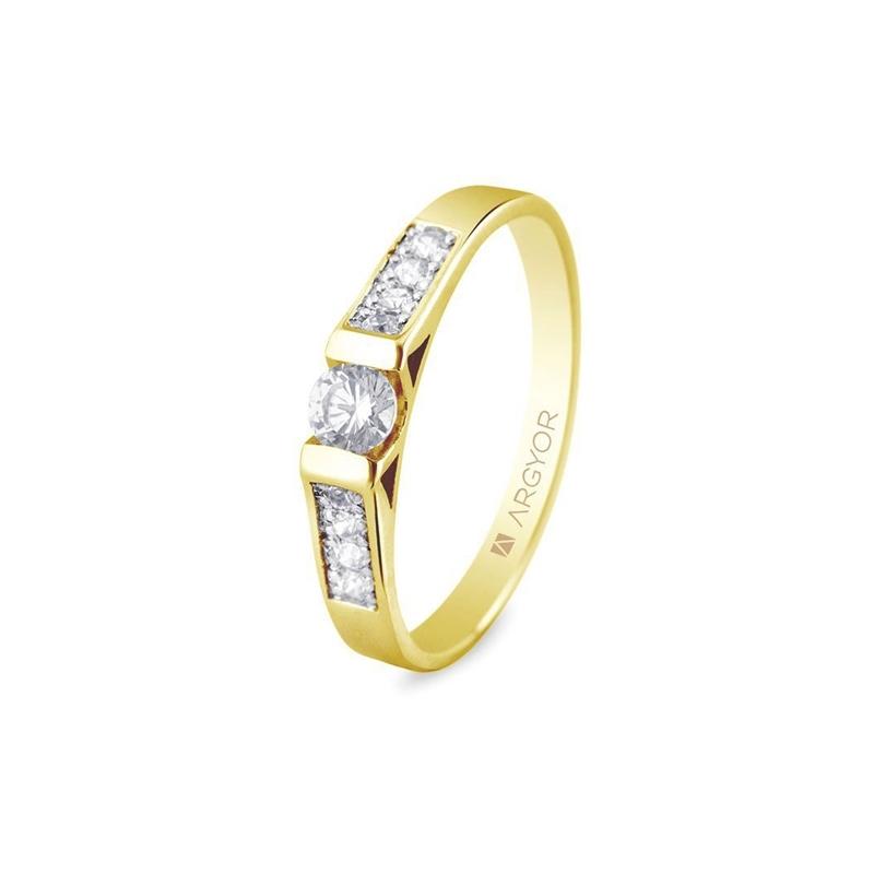 Anillo de oro amarillo con diamantes, peso total 0,28 ct, de Argyor Compromiso.