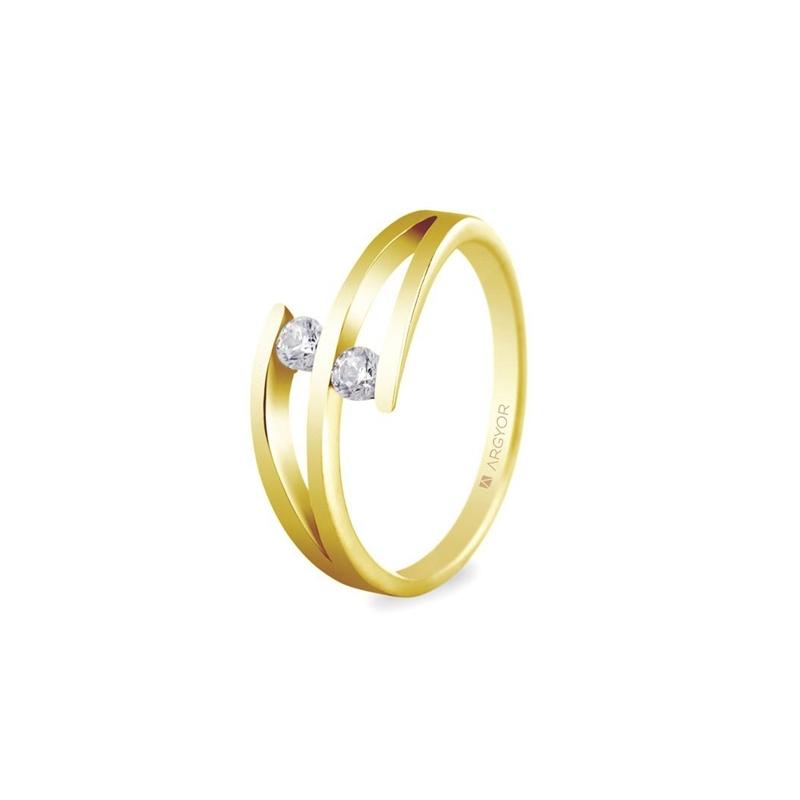 Anillo de oro amarillo con 2 diamantes, peso total 0,14 ct., de Argyor Compromiso.