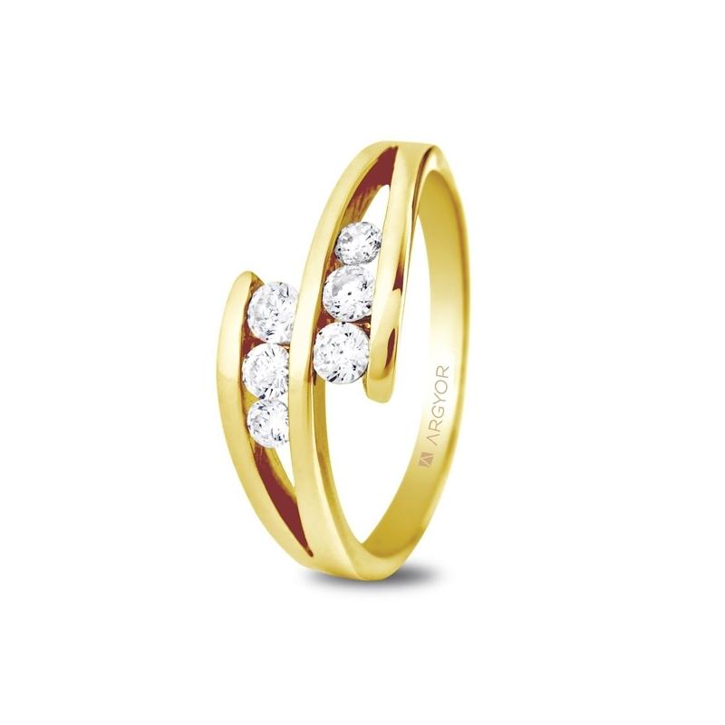 Anillo de oro amarillo con 6 diamantes, peso total de 0,352 ct., de Argyor Compromiso.
