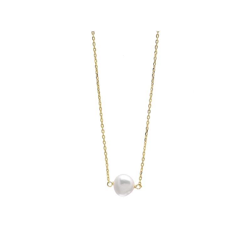 Colgante de perla cultivada en cadena de plata dorada, de Salvatore Plata.