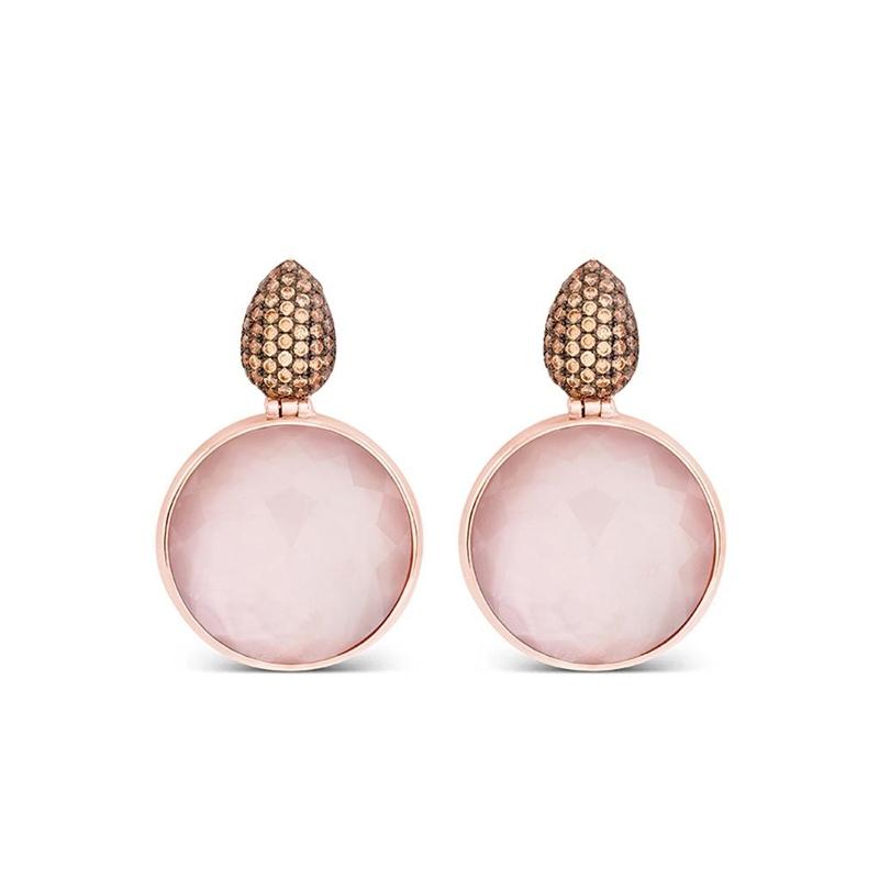 """Pendientes de plata dorada en oro rosada y cuarzo rosa, """"Zenshi"""" de Luxenter."""