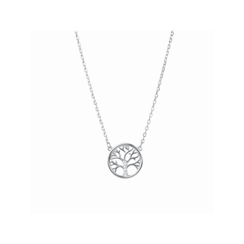 Colgante en forma de árbol de la vida, en plata con circonita y cadena, de Luxenter.