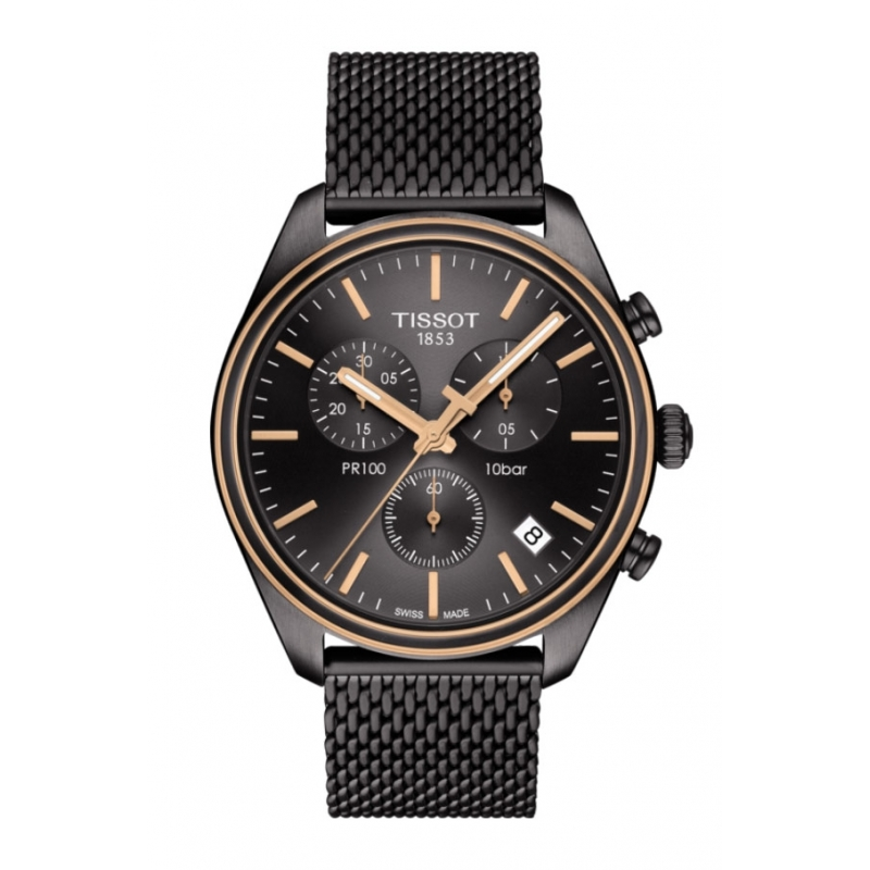 Reloj Tissot PR100 para hombre, chapado en negro, con gronógrafo y correa de malla, T1014172306100.