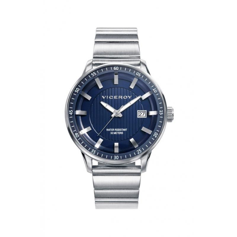 """Reloj Viceroy """"Icon"""" de hombre, de acero con esfera azul, ref. 42317-37."""