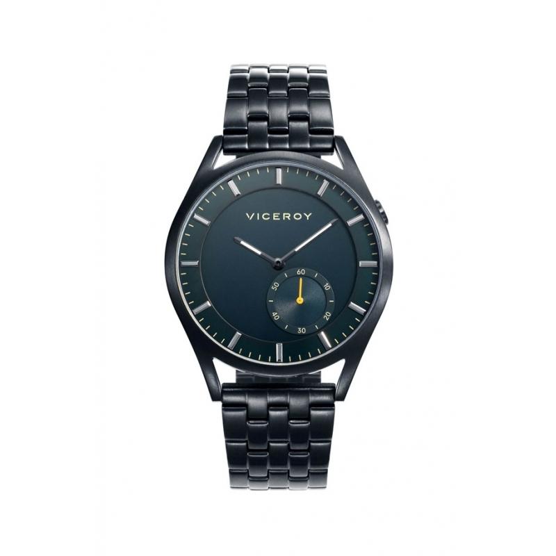 """Reloj Viceroy de hombre """"Beat"""", chapado en negro con detalles en amarillo, ref. 471107-37."""
