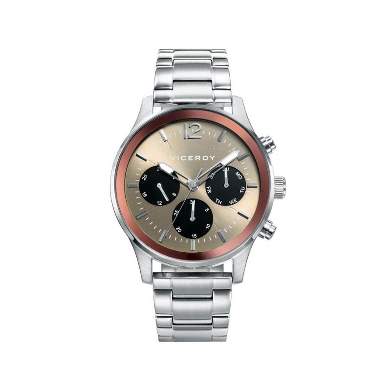 Reloj Viceroy para hombre de acero multifunción, con esfera marrón, ref. 471139-15.