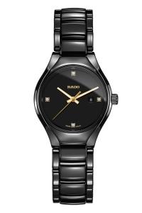 """Reloj Rado de mujer """"True"""" en cerámica negra y diamantes en esfera, ref. R27059712."""