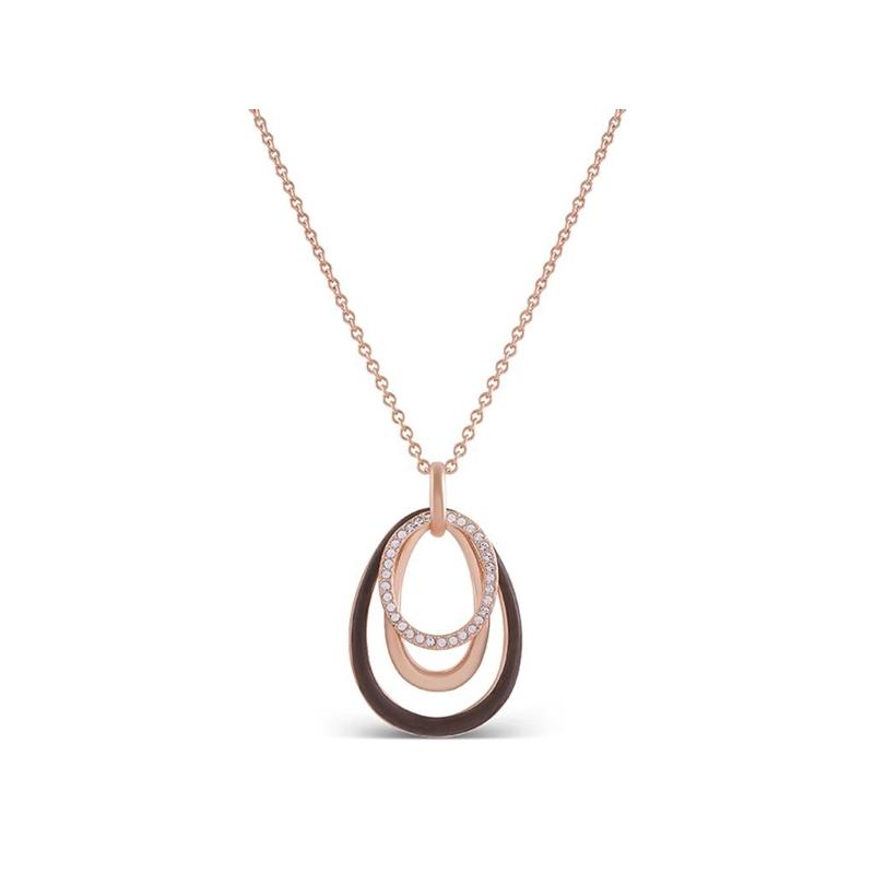 """Colgante de varios círculos, dorado en oro rosa, circonitas y resina marrón, cadena incluida, """"Danya"""" de Luxenter."""