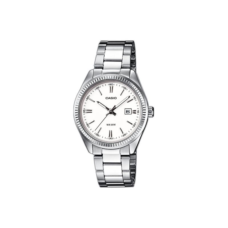 Reloj Casio de mujer plateado, de estilo clásico y esfera blanca, ref. LTP-1302PD-7A1VEF.