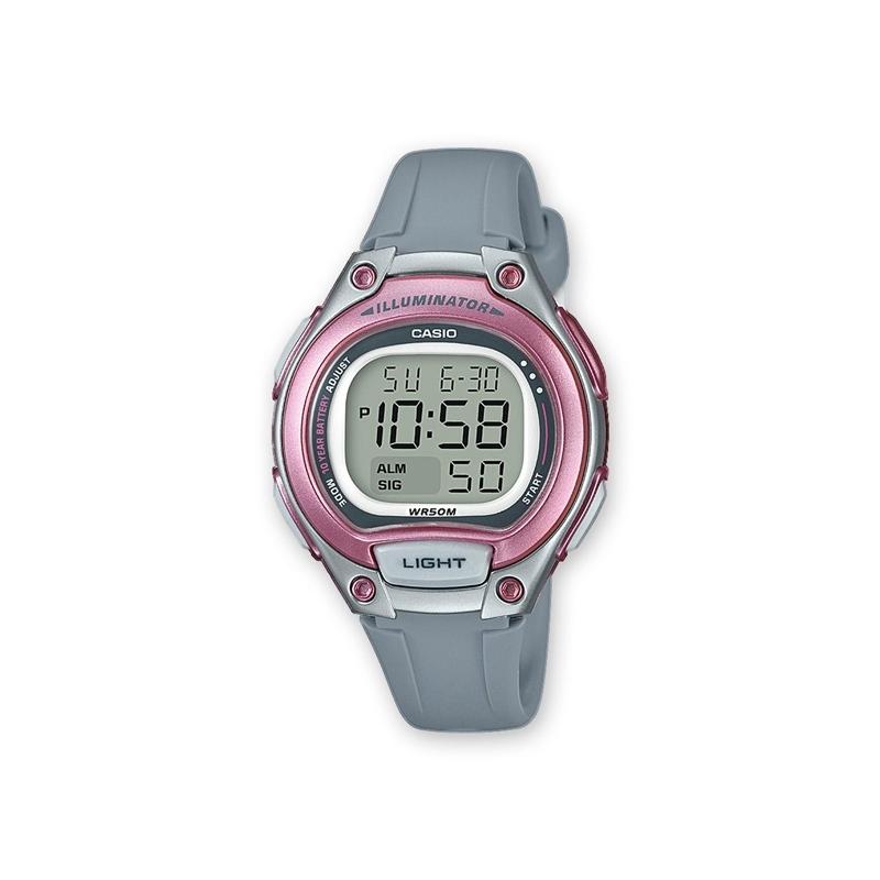 Reloj Casio digital para niña, en gris y rosa, ref. LW-203-8AVEF.