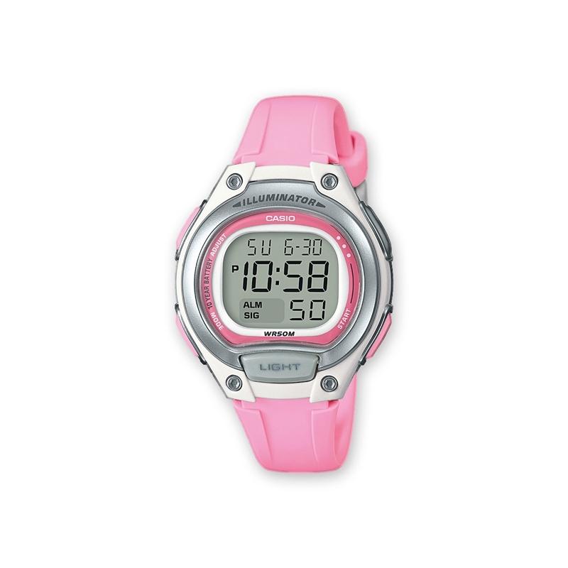 Reloj Casio digital para niña, en resina rosa y blanca, ref. LW-203-4AVEF.