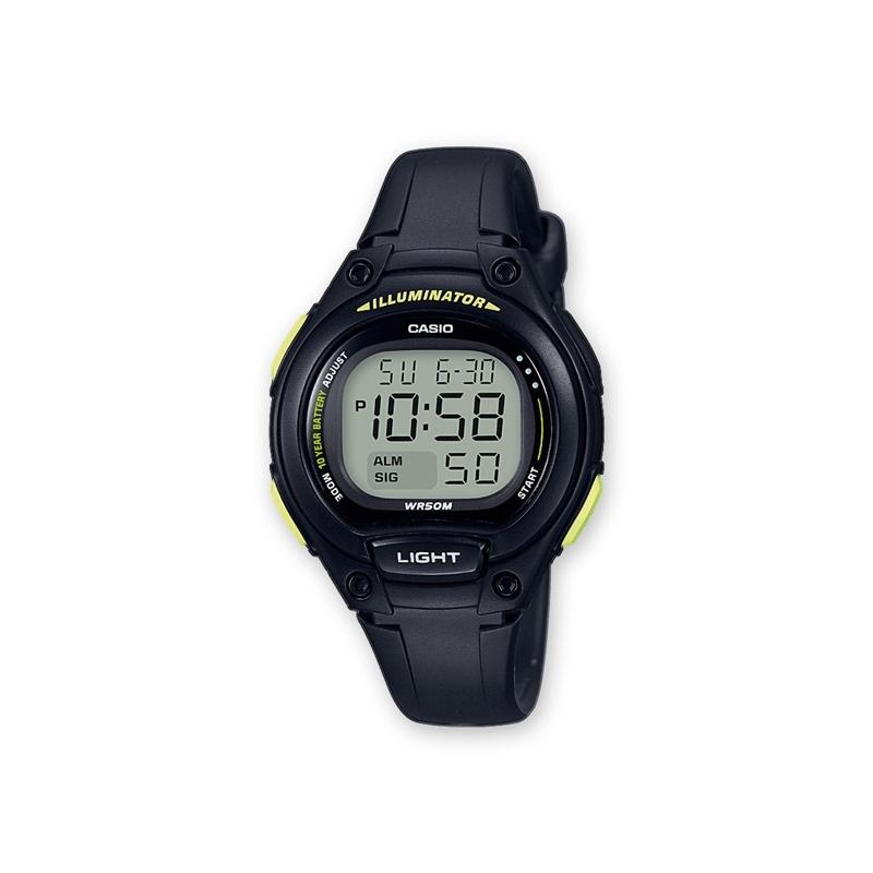 Reloj Casio digital, en resina negra y con  detalles amarillos, para cadete, ref. LW-203-1BVEF.