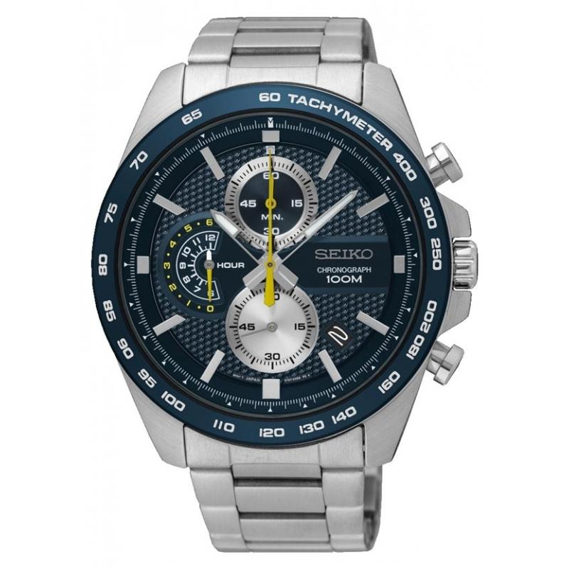 """Reloj Seiko para hombre """"Neo Sports"""" de acero, con esfera azul y cronógrafo, ref. SSB259P1."""