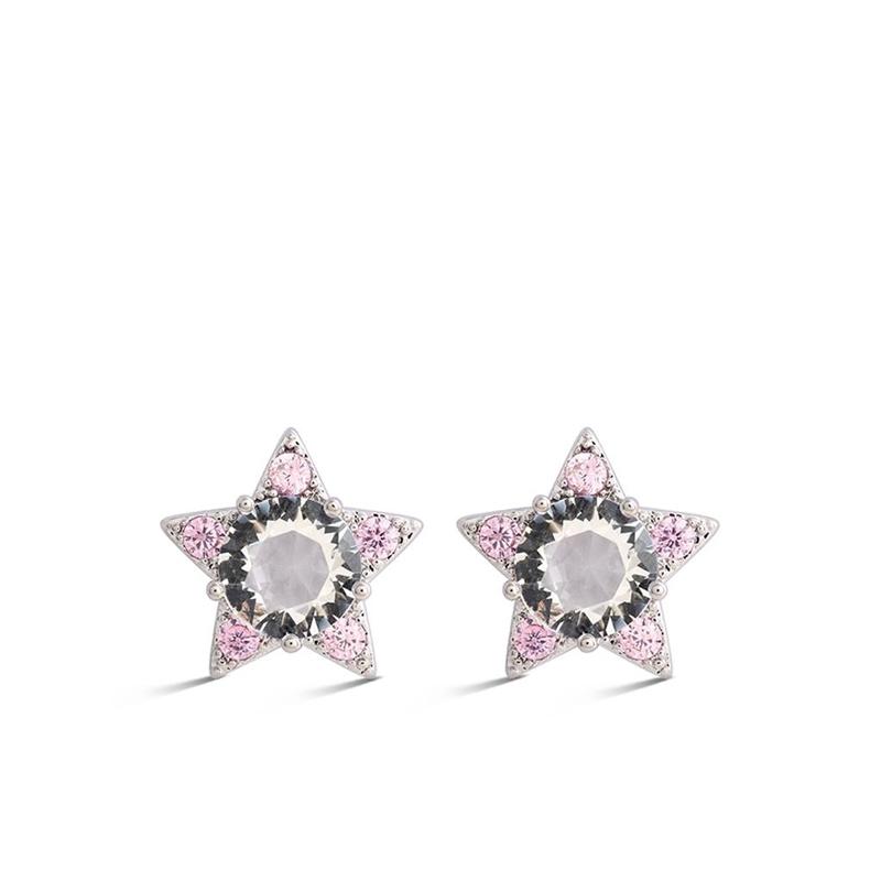 """Pendientes en forma de estrella """"Dalfil"""", plateado con cristales rosas y blancas, de Luxenter."""