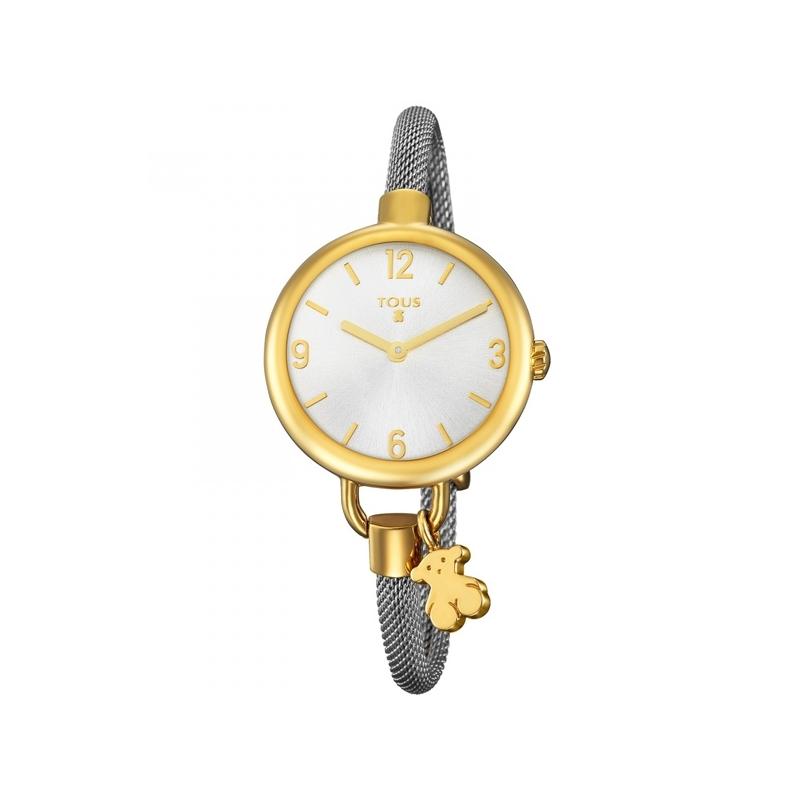 """Reloj Tous de mujer """"Hold"""" dorado, brazalente redondo de acero y fetiche, ref. 700350220."""