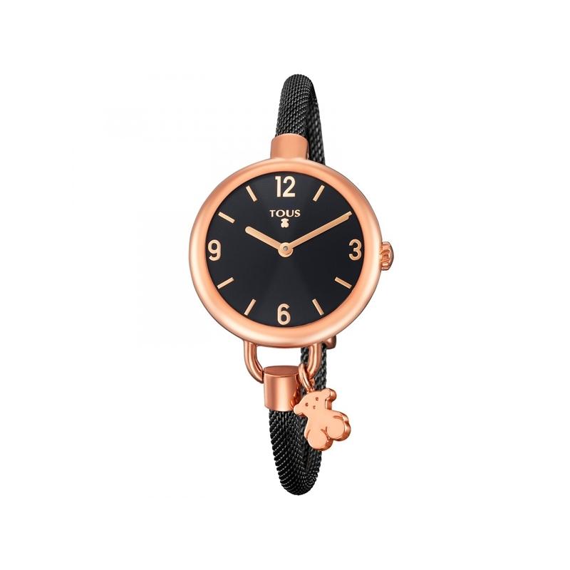 Reloj Tous Hold de mujer, en acero chapado en oro rosa y negro, ref. 700350225.