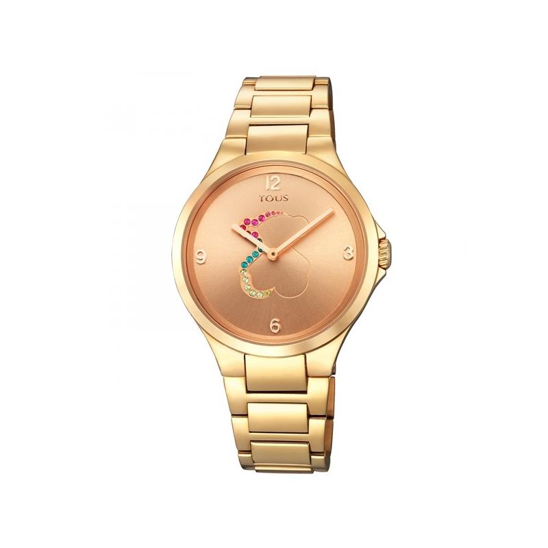 """Reloj Tous de mujer """"Motion"""" dorado en oro rosado, con piedras de colores, 700350210."""