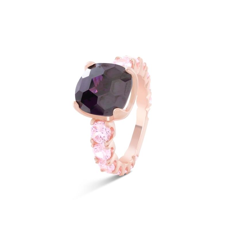 """Anillo de plata rosada piedras en tonos amatistas, """"Kitsai"""" de Luxenter."""