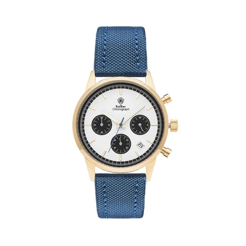 Reloj Balber Chrono unisex, caja dorada, cronógrafo y correa azul de tela.