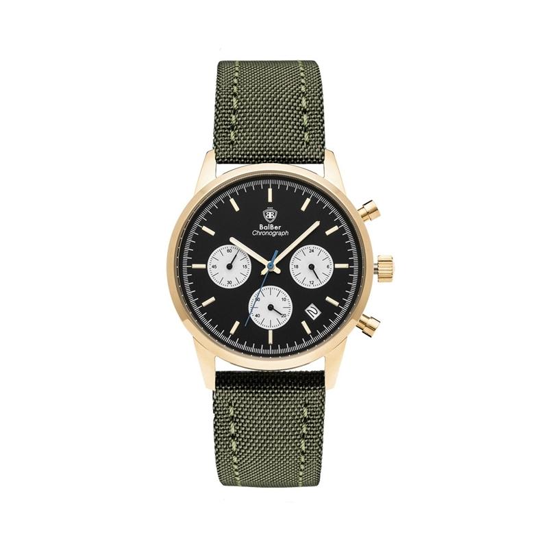 """Reloj Balber unisex """"Chrono"""", con caja dorada, esfera negra/blanca y correa tela verde."""