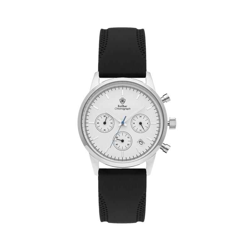 "Reloj Balber ""Chrono"" unisex, plateado con correa de silicona negra y esfera blanca."