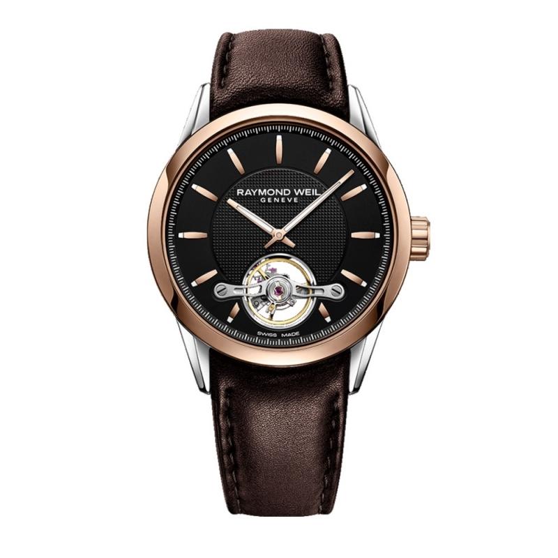 Reloj Raymond Weil automático Freelancer para hombre, con detalles dorados y correa marrón 2780-SC5-20001.