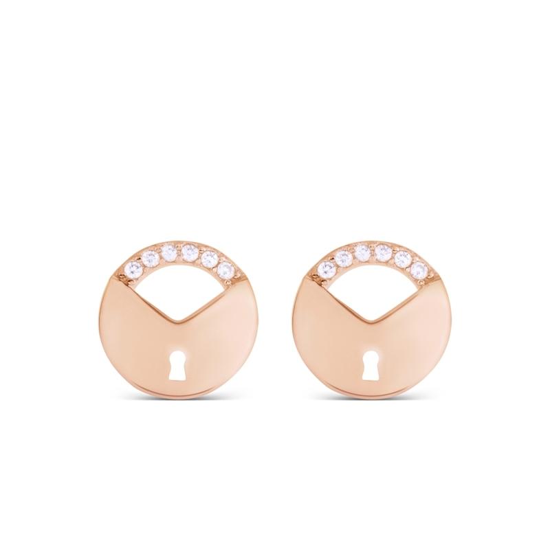 """Pendientes redondos con forma de candado, en plata rosada y circonitas, """"Usawa"""" de Luxenter."""