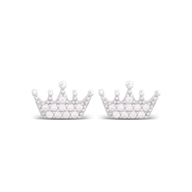 """Pendientes de plata rodiada y circonitas, con forma de corona, """"Napenda"""" de Luxenter."""