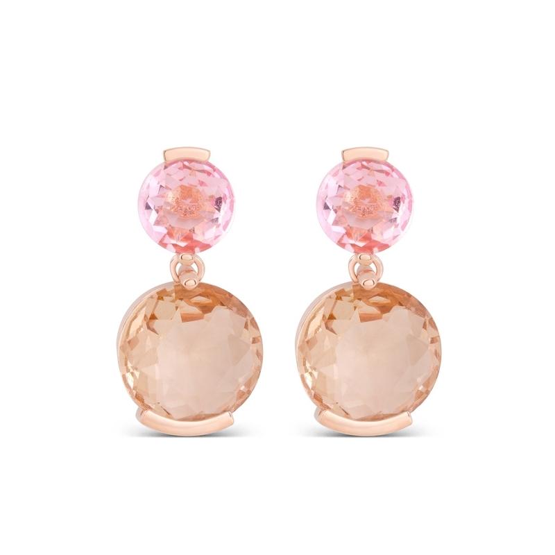 """Pendientes de plata chapada en oro rosado, y piedras en estos tonos, """"Oyane"""" de Luxenter."""