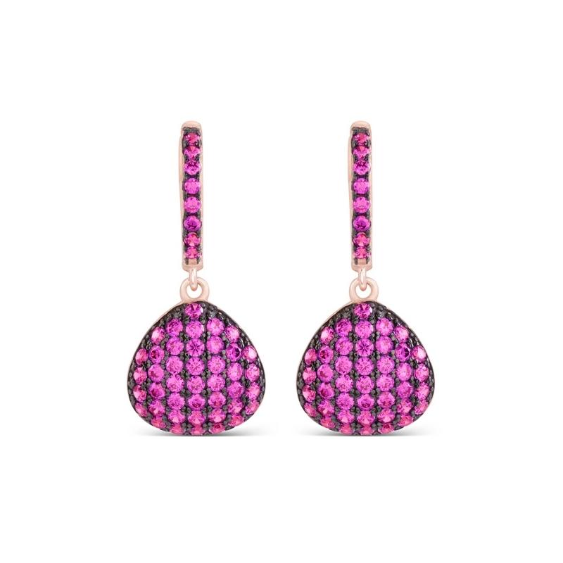 """Pendientes en plata chapada en oro rosé y negro, con circonitas color rubí, """"Kikksha"""" de Luxenter."""