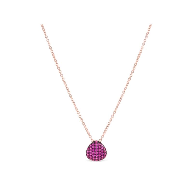 """Colgante en plata chapada en oro rosa y negra, con circonitas color rubí, """"Killsha"""" de Luxenter."""