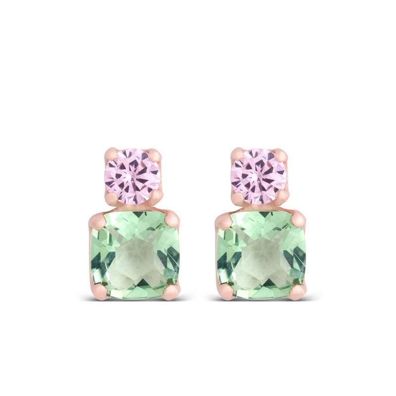 """Pendientes de plata dorada en oro rosado, con piedras rosas y verdes, """"Kitsai"""" de Luxenter."""