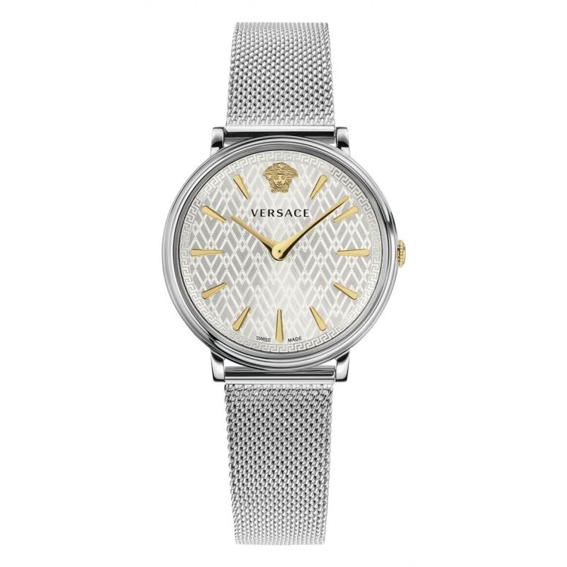 Reloj Versace V-Circle de mujer, con correa de malla y detalles dorados, ref. VBP05 0017.