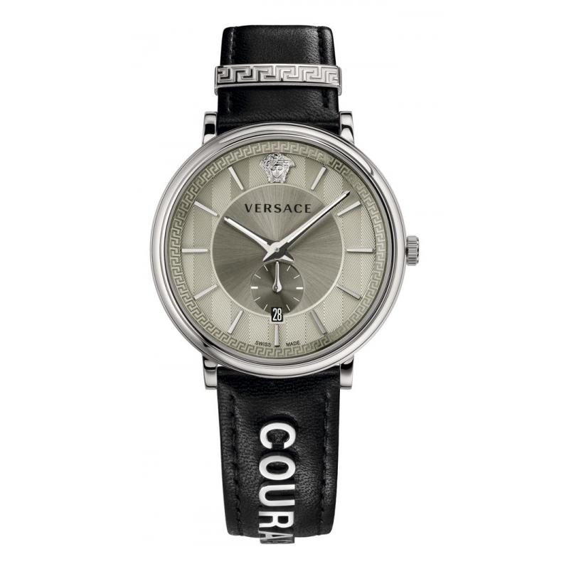 """Reloj Versace V-Circle de hombre con correa de piel """"Courage"""", ref. VBQ08 0017."""