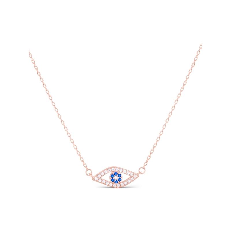 "Colgante de plata dorada en forma de ojo, con circonitas blancas y azules, ""Usawa"" de Luxenter."