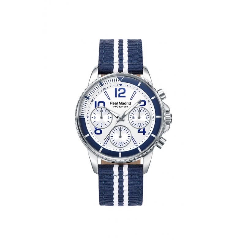 Reloj Viceroy Real Madrid con cronógrafo y correa de nylon azul y blanca, ref. 42298-07.