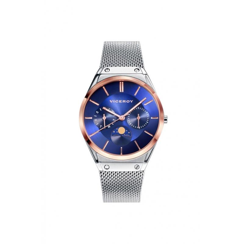 Reloj Viceroy de mujer Air, con esfera azul, detalles dorados y fase lunar, ref. 42318-37.