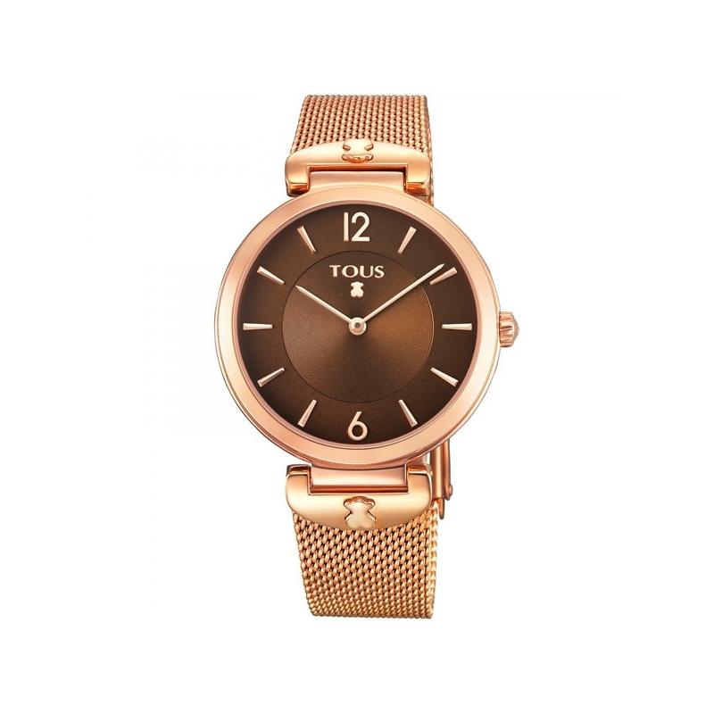 """Reloj Tous para mujer """"S-Mesh"""" dorado en oro rosé y esfera chocolate, correa de malla, 700350290."""