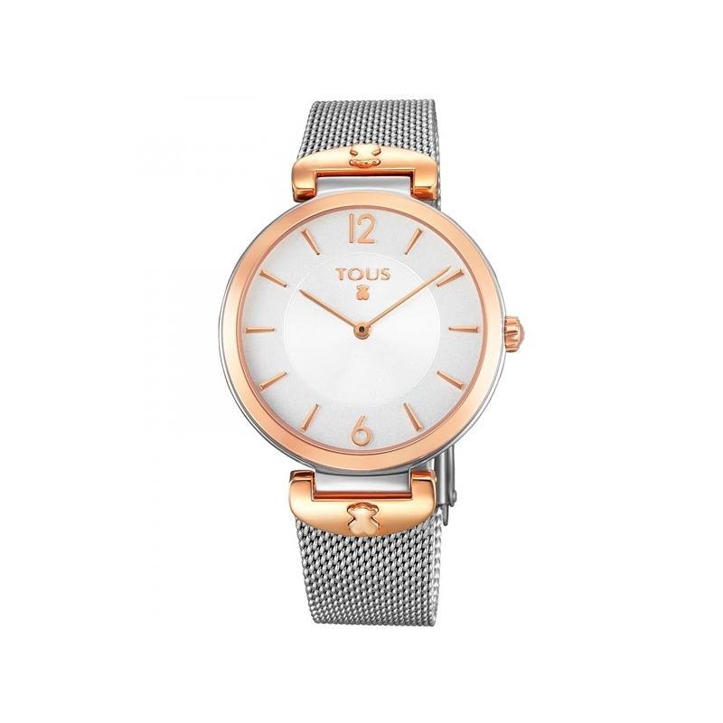"""Reloj Tous de mujer """"S-Mesh"""" con malla milanesa y detalles dorados en oro rosé, ref. 700350285."""