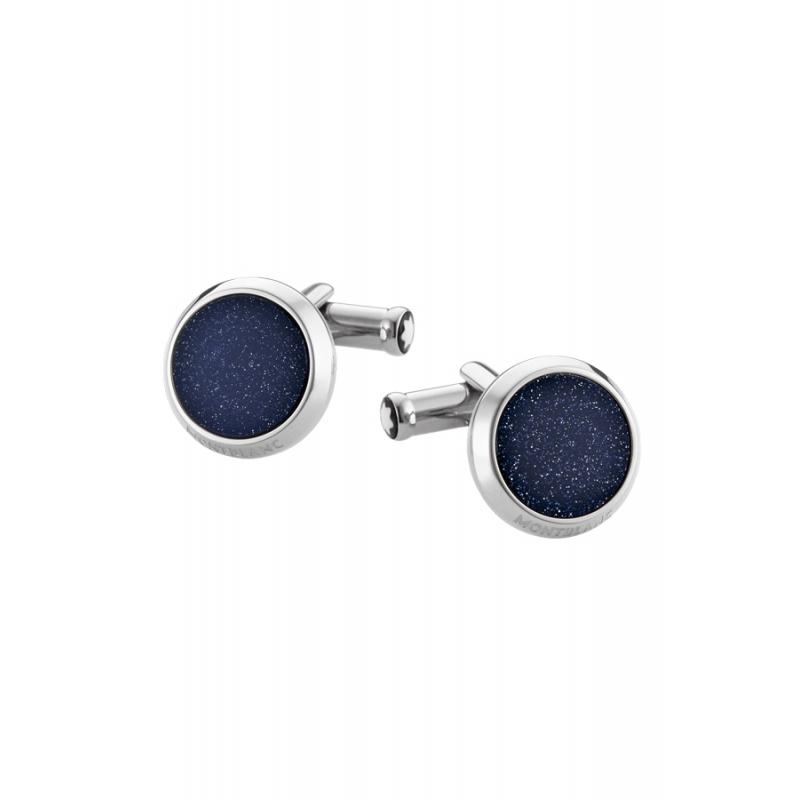 Gemelos Montblanc en acero redondos, con aventurina azul, ref. 112906.