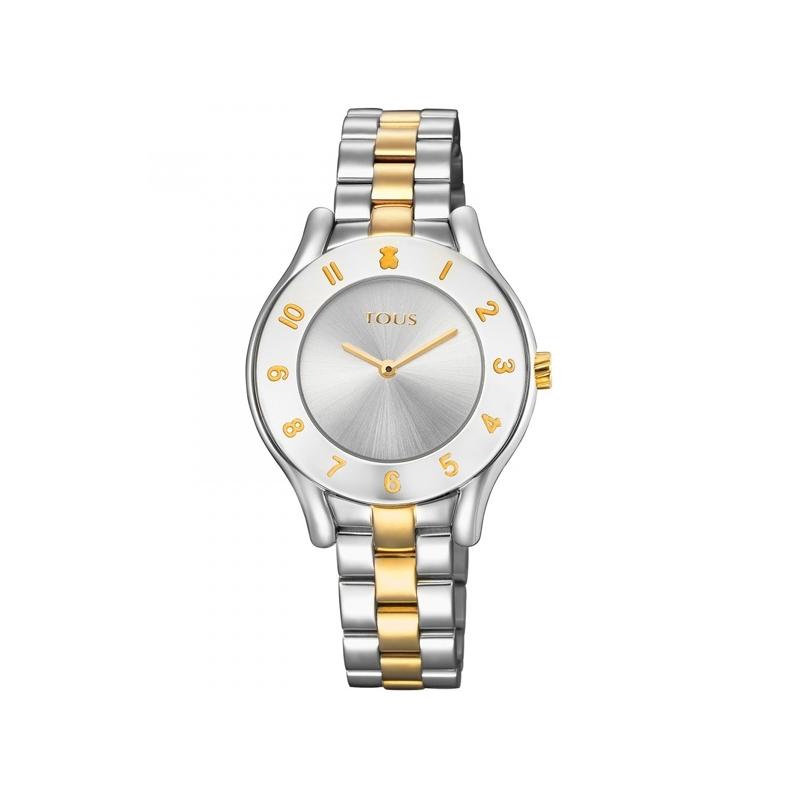 """Reloj Tous de mujer """"Errold"""" plateado bicolor en oro amarillo, ref. 700350235."""
