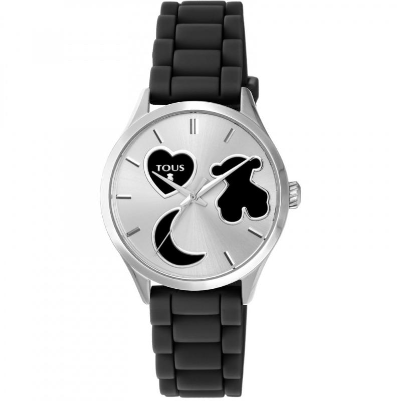 """Reloj Tous """"Sweet Power"""" de mujer con detalles y correa de silicona negra, 800350740."""