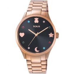 Reloj Tous Super Power de mujer, dorado, esfera negra y piedras de colores, 800350720.