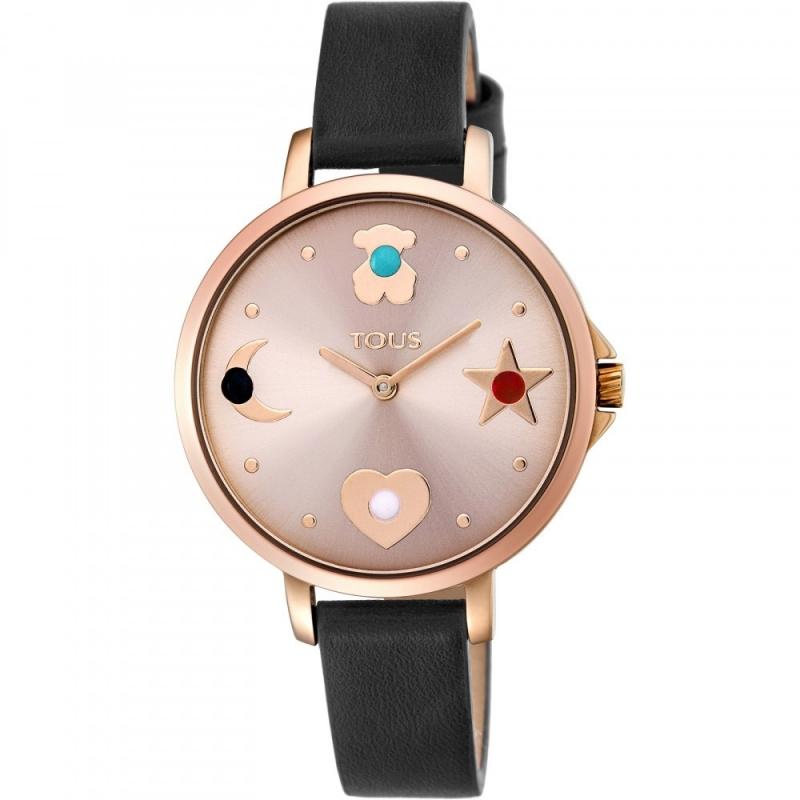 Reloj Tous de mujer dorad, con piedras y correa de piel negro, ref. 800350735.