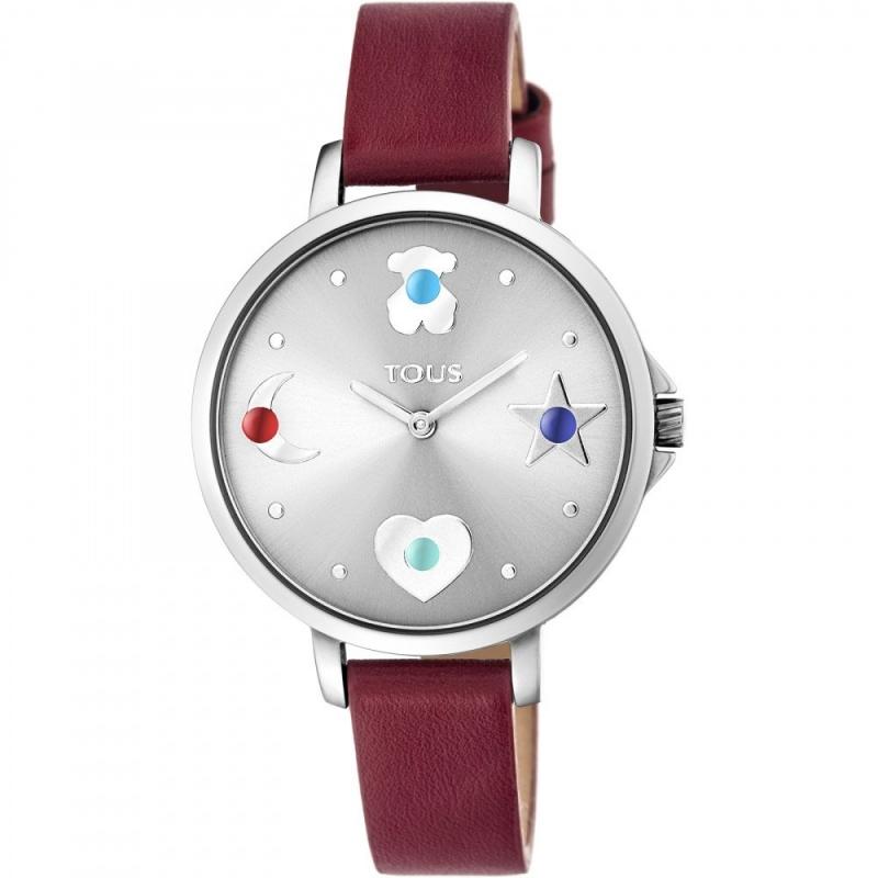 """Reloj Tous de mujer """"Super Power"""", plataedo con piedras de colores y correa burdeos, ref. 800350730."""