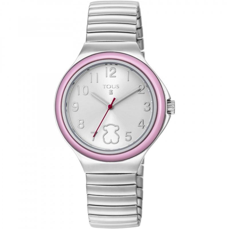 """Reloj Tous de niña """"Easy"""" con brazalete extensible y bisel rosa, ref. 800350640."""
